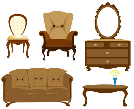 vintage chair:  interior, furniture collection isolated illustration
