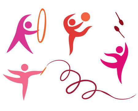 gymnastic girl: sport set icons, free callisthenics, gymnastycs