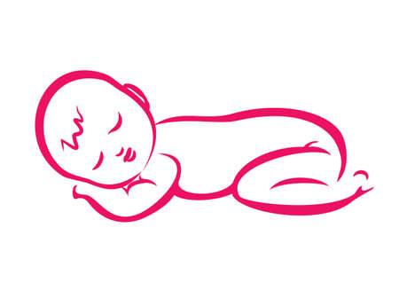 baby sleeping silhouette in simple lines