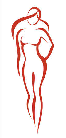 naked female body: beauty, fashion concept. beautiful woman silhouette icon