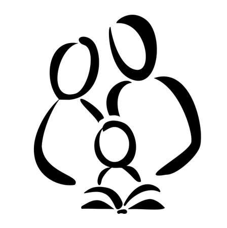 가족과 책, 지식, 교육 개념