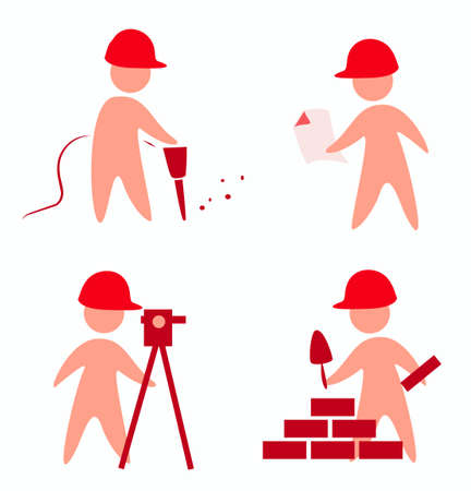 builders icons in simple figures Stock Vector - 22348406