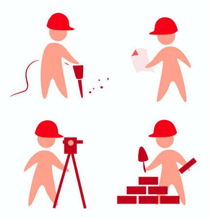 draftsman: builders icons in simple figures