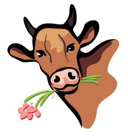 happy cow portrait multicolored closeup  illustration