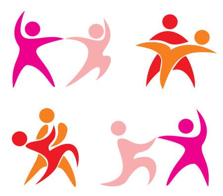 latinos: set of dancing couple symbols in simple figures. part 1