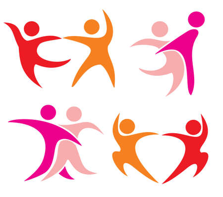 単純図形で踊っているカップルのシンボルのセットです。部分