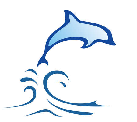 dolphin symbol in simple lines Illustration