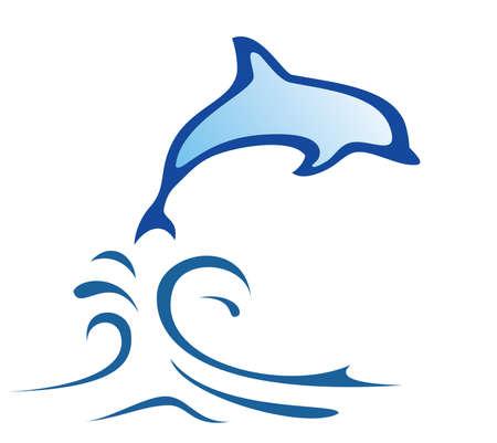símbolo de delfines en líneas simples