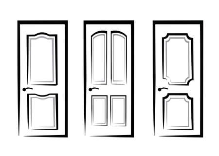 front entry: doors collection of isolated illustration in simple black lines Illustration