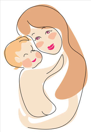 born saint: euro mama and child  illustration in cartoon style
