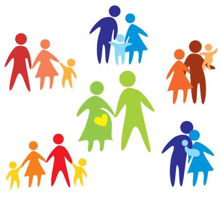 간단한 그림에 여러 가지 빛깔 행복한 가족 아이콘 모음