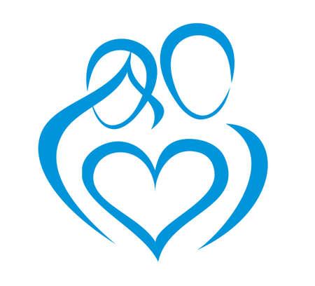 Familie, Liebe Symbol, stilisiert in einfachen Linien Vektorgrafik