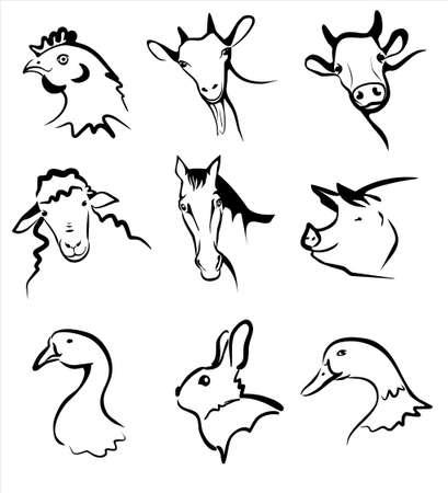 単純な黒線でのシンボルのファーム動物コレクション  イラスト・ベクター素材