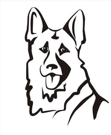 perro policia: alemán sheppard aislado vector icono