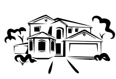 house drawing: real estate, concept illustration in black lines Illustration