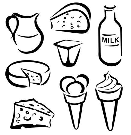 nutritive: set of dairy products in simple black lines