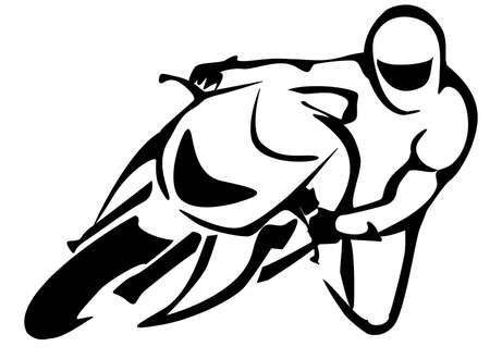 casco moto: ilustración Motorcicle conductor aislado en líneas negras Vectores