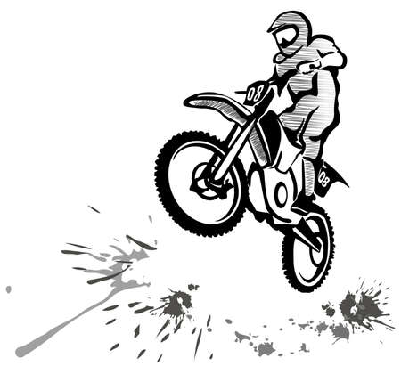motocross hand drawn illustration in grunge style Illustration