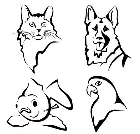 cat fish: set of pets portraits in simple black lines