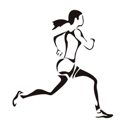 vrouw loopt silhouet Stock Illustratie