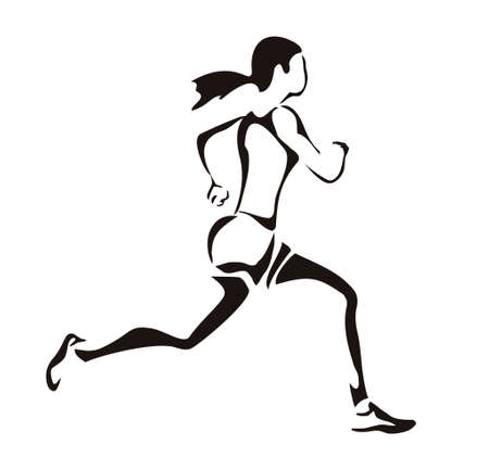 woman run: woman running silhouette
