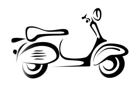 scooter silhouet, symbool, pictogram in eenvoudige zwarte lijnen