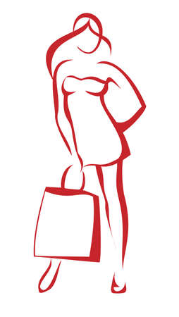 boutiques: woman standing with the shoping bag, isolated illustration Illustration