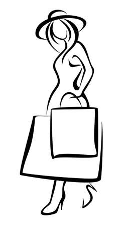 woman standing with the shopping bag, isolated illustration Stock Vector - 22348457