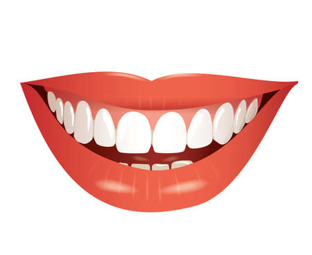 lips smile: smiling mouth isolated photo-realistic  Illustration