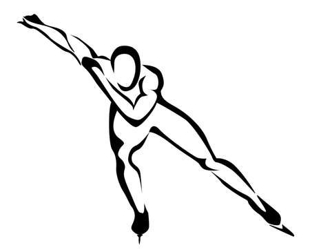 Speed skating, stylized silhouette icon Vector