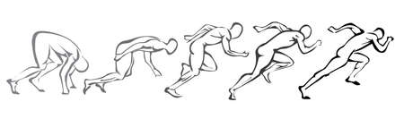 start position: sprint concept. set of symbols running man Illustration
