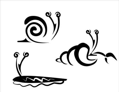 hermit: snail, slug and hermit crab concept set