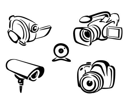video and photo cameras collection isolated illustration in simple black lines Stock Vector - 22348465