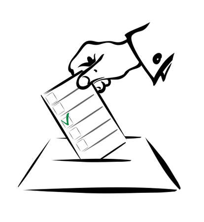 ballot papers: voting symbol in simple black lines, isolated illustration Illustration