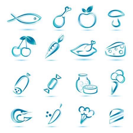 frozen meat: all kinds food icons, big collection of market food icons