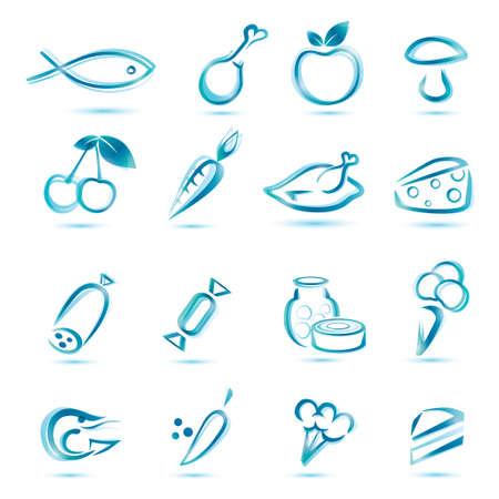 tutti i tipi icone alimentari, grande collezione di icone di cibo di mercato Vettoriali