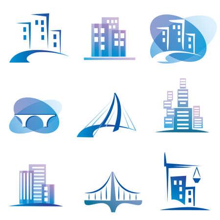 bridge: city  icons set, construction concept