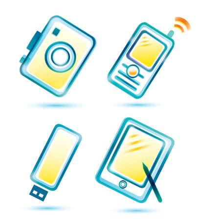multimedia pictogram: set of digital multimedia icons