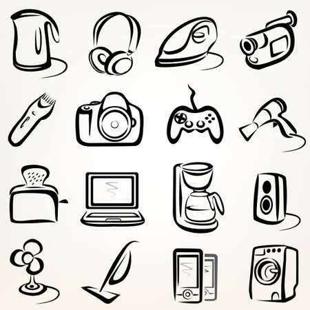 electric goods of household appliance icons set