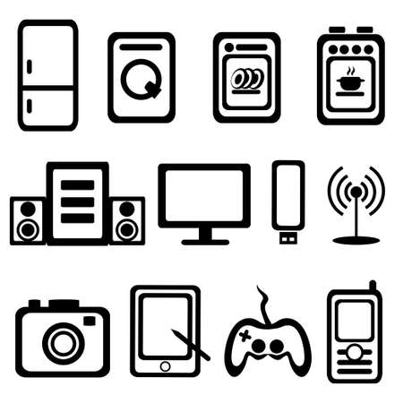 tv unit: electric goods of household appliance icons set
