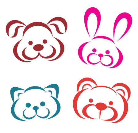 teddy animals portraits icons. Outlined toys vector illustration. Vector