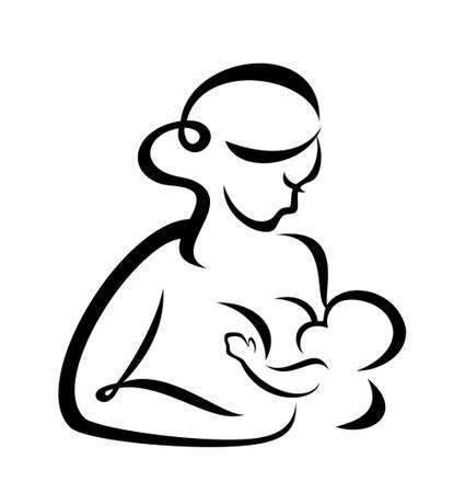 young woman breastfeeding her baby symbol