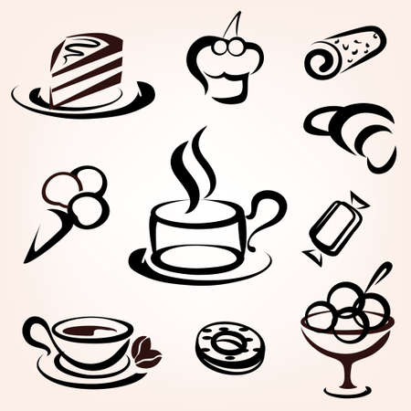 caffe, bakery and other sweet pastry icons set Illustration