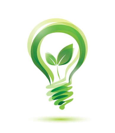 緑のエコ エネルギー概念、電球の中に育つ植物