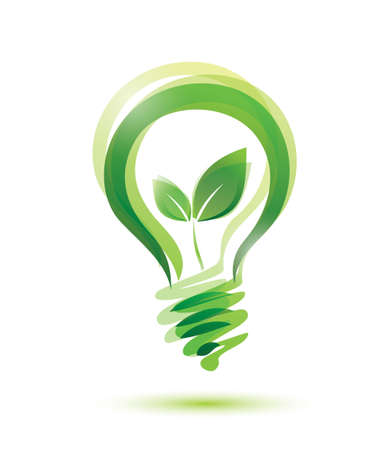 conceptual bulb: green eco energy concept, plant growing inside the light bulb  Illustration
