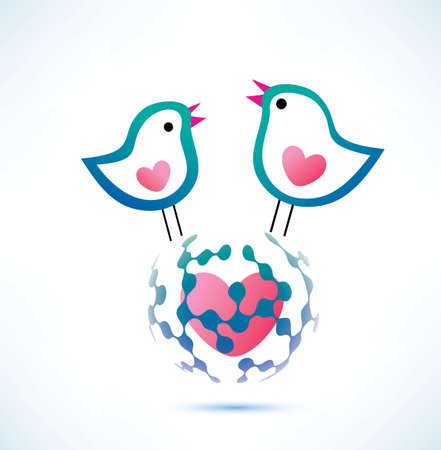 tweet: global social network concept, two birds on the globe tweet