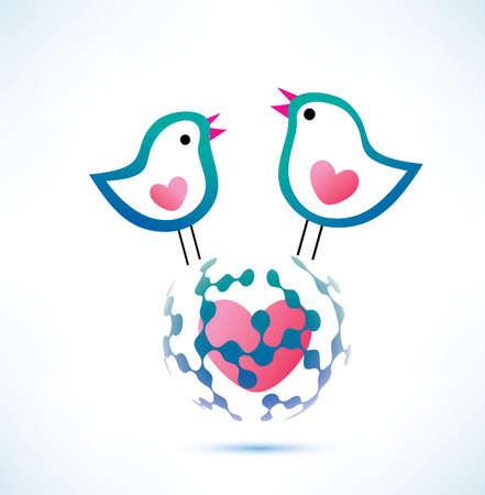 tweet: global social network concept, two birds on the globe tweet