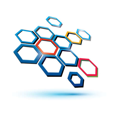 chemical compound: hexagonal abstract icon, science, technology and communication concept