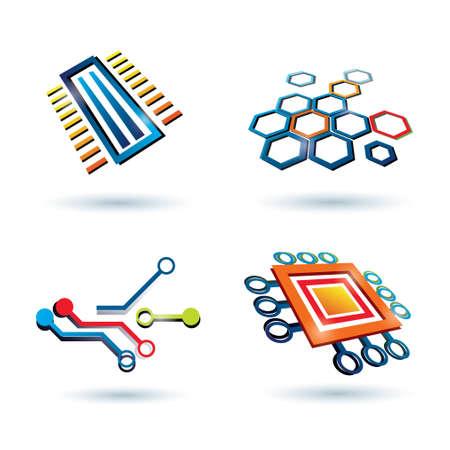 esquema de micro, CPU y otros elementos iconos conjunto Ilustración de vector
