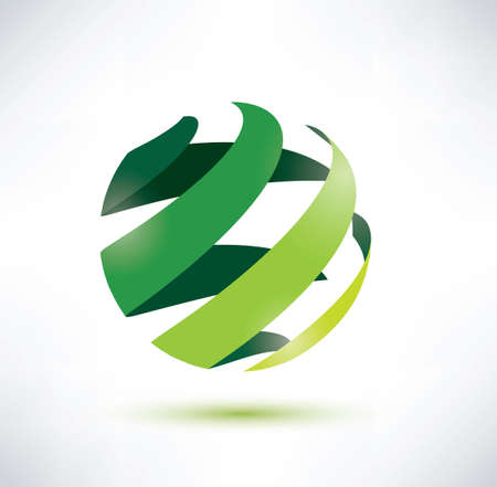 natural world: abctract green globe icon, ecology and nature concept